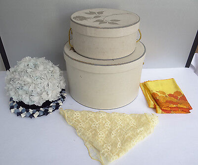 Vintage Lot 2 Decorative Lord & Taylor White Hatboxes w/ Union Made Hat Scarfs