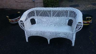 White Rattan 2 seater & 2 chairs