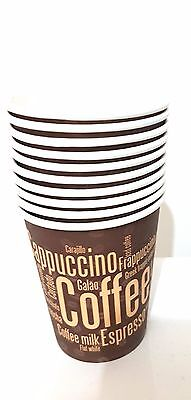 12oz COFFEE PAPER CUPS Disposable Single Walled for Cold/Hot Drink 150Lot