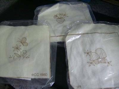 3 Small Crewel Embroidery Kits-Strawberry/Mushrooms/Butterfly & Flower