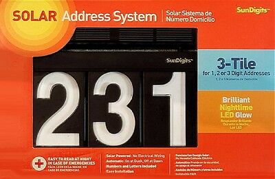 SUNDIGITS Sundigits 3 Digit Solar Led House Numbers