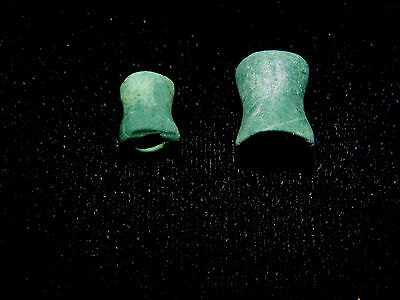 Pre-Columbian Beads, Pair of 2, Green Stone Carved Beads, Authentic