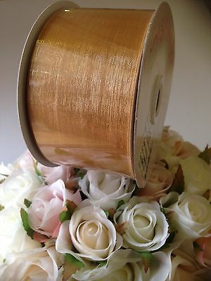 EXTRA LONG HIGH QUALITY ORGANZA WIDE VINTAGE GOLD SHEER RIBBON 50mm X 50 METRES