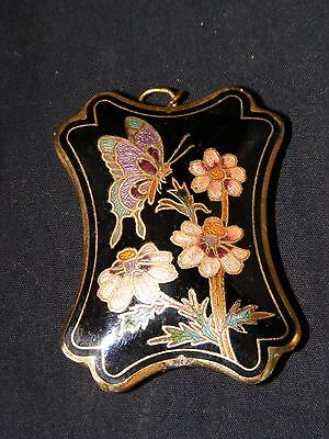Reversible Cloisonne Butterfly & Flowers Pendant, Black Background