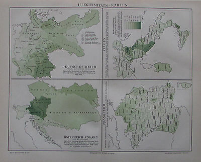 1892 ILLEGITIMITÄTS-KARTEN alte Landkarte Antique Map Lithografie
