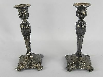 """Antique Pair Silver Plate Candle Holders Wm Rogers & Son """"VICTORIAN ROSE"""""""