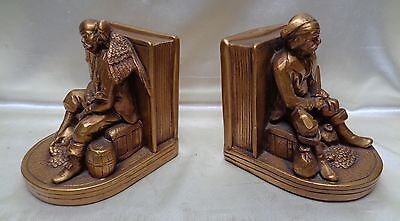 Gorgeous Pair of 1962 Vintage Gold Finish Pirate on Treasure Chest Bookends