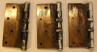 3 Vintage Stanley Architectural 5 Knuckle Ball Bearing Hinges