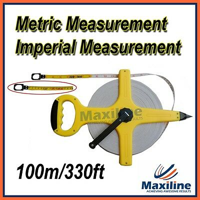100M Tape Measure 330FT Open Reel Measuring Tools Bright Yellow Colour