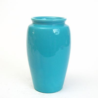 "Bauer Pottery Fred Johnson Hand Thrown Turquoise Collared Vase 9"" #FM989"