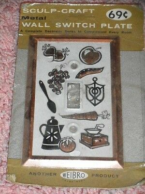 Vintage mid-century kitchen metal wall electrical single switch plate NIP