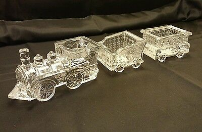 Fitz and Floyd 3 piece Holiday Crystal Train votive Christmas candle holder