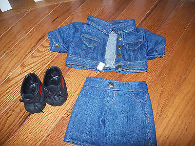 "Bear Doll Clothing 12"" Treasured Toggery Denim Jean Jacket, Pants And Sneakers"