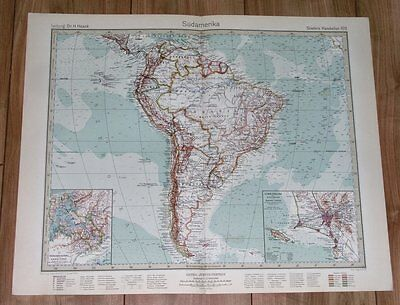 1932 Original Vintage Map Of South America Brazil Argentina Chile Colombia