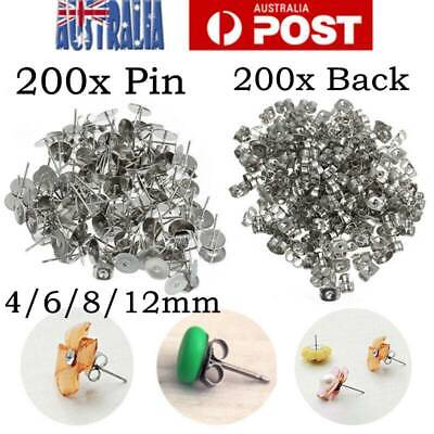 400 Earring Stud Post 4/6/8mm 200x Pads+200x Backs Hypoallergenic Surgical Steel