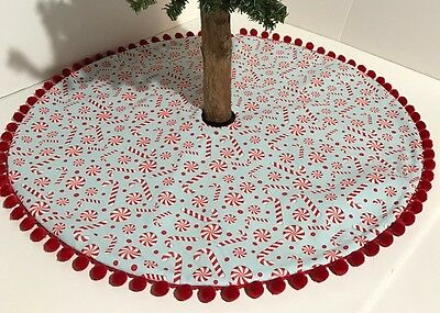 """Christmas Tree Skirt -25""""- Candy Canes & Peppermints Galore – Custom Made"""