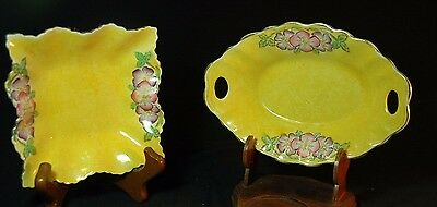 James Kent Yellow Handpainted Square and Oval Dishes