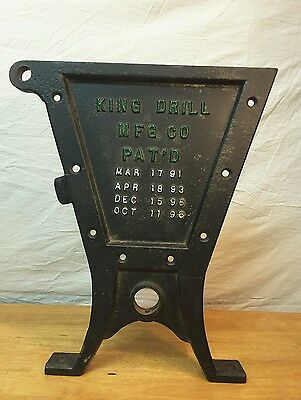 Antique Cast Iron KING DRILL Seed Box End Panel Seat Tractor Farm Implement
