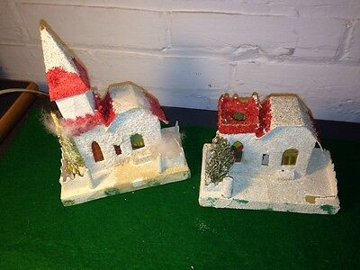 Two Vintage Cardboard Mica Christmas Village Houses Churches Midcentury Japan