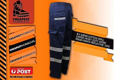 3 Pairs Mens Cotton Drill Heavy Duty Workwear Pants With Reflective Tape Cargo