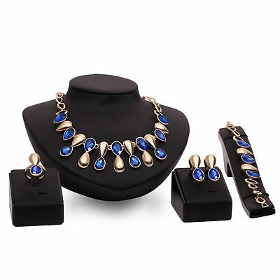 Women Fashion Gold Plated Chain Necklace Earrings Crystal Rhinestone Jewelry Set