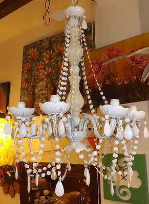 Chandelier resin and glass Old Style Diameter 50 cm Ethnic White milk 8 lights
