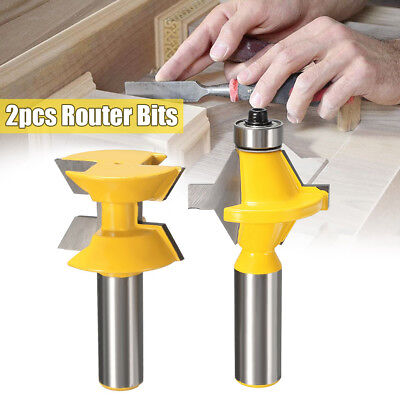 2pcs Matched Tongue Groove  Router Bit 1/2'' Shank Tool Kits Woodworking Edge