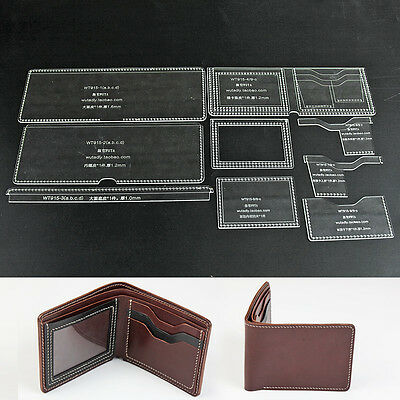 WUTA Bifold Wallet Leather Template Acrylic Pattern Card Holder  915-C