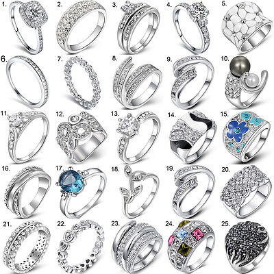 Fashion Women 925 Sterling Silver Jewelry Filled Wedding Engagement Wedding Ring