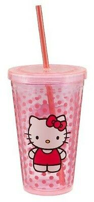 Vandor 18151 Hello Kitty 532ml Acrylic Travel Cup with Lid and Straw, Pink