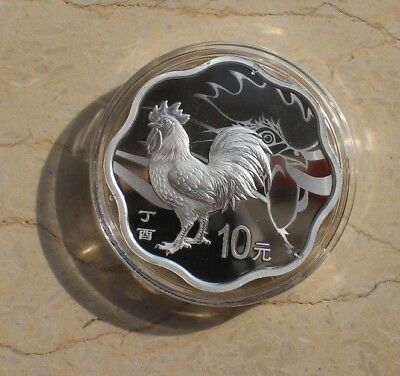 China 2017 Rooster Silver (Plum Blossom Shaped) 30g Coin