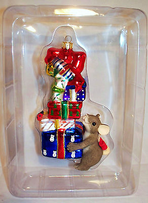 Charming Tails by Fitz & Floyd Glass Ornament STACK OF JOY 95/123 Christmas Gift