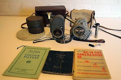 Rare Antique wind up 8mm Cameras + Film Rolls + Extras! **** Fully Working ****