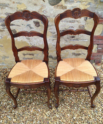 Superb Pair Old French Dining Chairs
