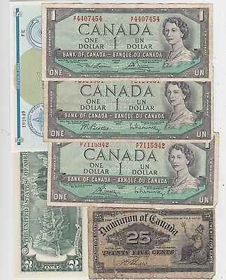 8 Old Banknotes From North America In Fair Or Better Condition