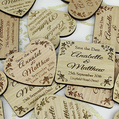 Wooden Save the Date Magnet | Personalised Vintage Rustic Wood Magnetic Cards