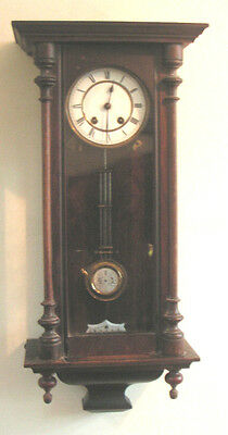 "German Mahogany Case Vienna Regulator Style Striking Wall Clock GWO 29""H 11.5""W"
