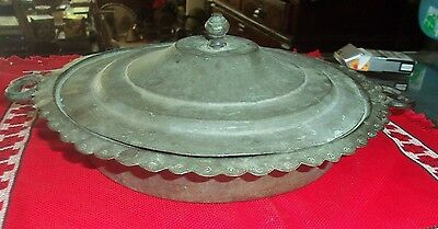 ANTIQUE 19th C OTTOMAN COPPER PLATE WITH COVER DISH ORNATE-HANDCRAFTED-RARE