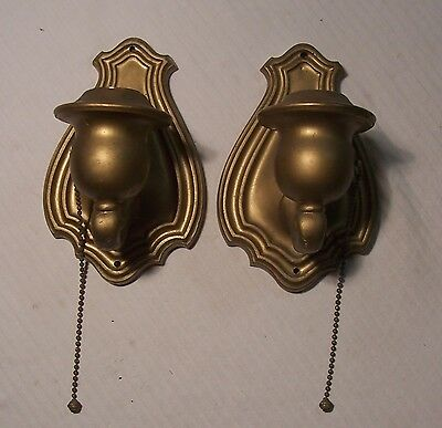 Antique Vtg Bryant Art Deco Cast Brass Sconce Light Fixture Pair USA #D97