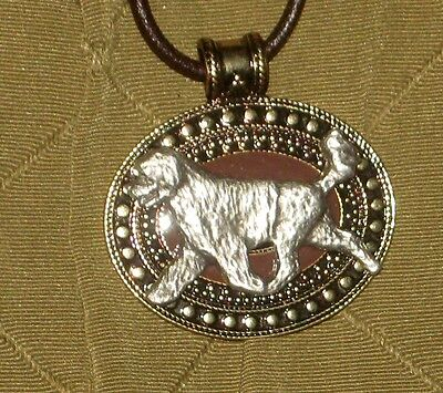 Portuguese Water Dog Brass Medallion on leather cord~necklace~portie porty Lion