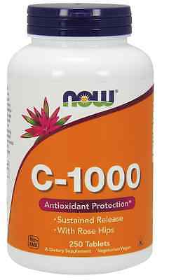 New - NOW Foods Vitamin-C-1000 with Rose Hips 250 Tabs