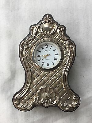 R CARR WOOD & Sterling Silver Faced Mantel Clock