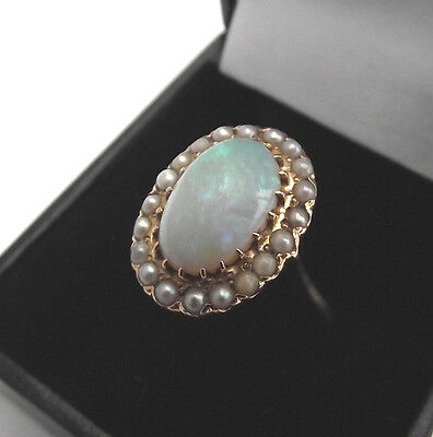 ANTIQUE 14k GOLD GENUINE OPAL & PEARL RING SIZE R