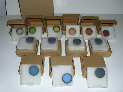 """Brand New In Individual Cases: Set Of 13 1.25"""" Format Telescope Eyepiece Filters"""