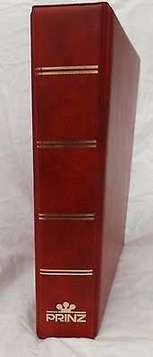 Red 4 Ring Prinz Stamp Album Empty To Hold Stock Sheets Or Album Pages