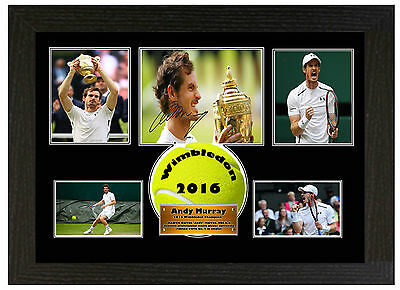 Andy Murray 2016 Wimbledon Champion  - A3 Signed Framed Picture Display
