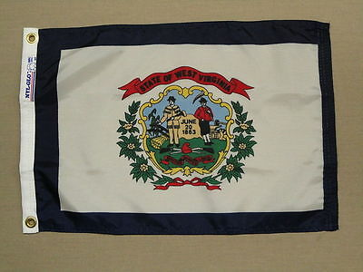 """West Virginia 1863 State Indoor Outdoor Dyed Nylon Boat Flag Grommets 12"""" X 18"""""""