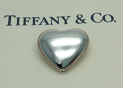 *RARE* Tiffany & Co. 18ct 18k Gold Sterling Silver Heart Rope Twist Brooch Pin