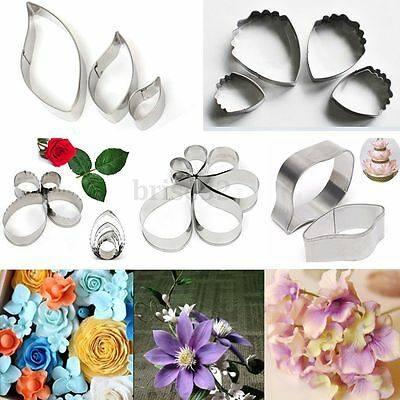3Pcs Stainless Steel Flower Carnation Cookie Cake Paste Mold Cutter Baking Tools