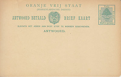 Orange Free State Reply Paid Postcard - Answer / Antwoord Postcard